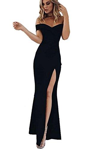 530411b864b433 CoCo Fashion Damen Trägerlos Split Maxikleid Off Shoulder Lange Abendkleid  Party Kleider